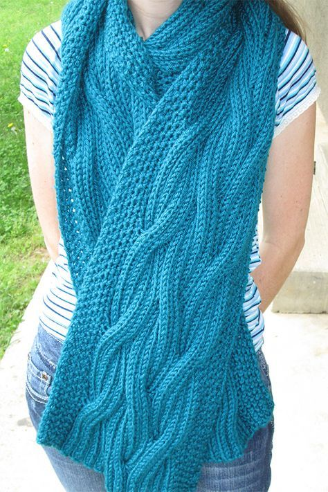 Free Knitting Pattern for Reversible Cable Rib Scarf ...