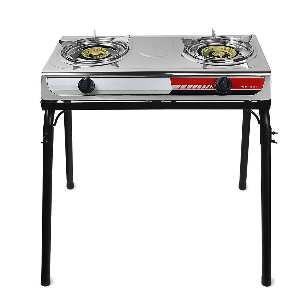 Xtremepowerus Portable Propane Gas Double Burner Outdoor Camping Stove Cooktop Station With Stand 95503 The Home Depot In 2020 Double Burner Gas Stove Top Stove