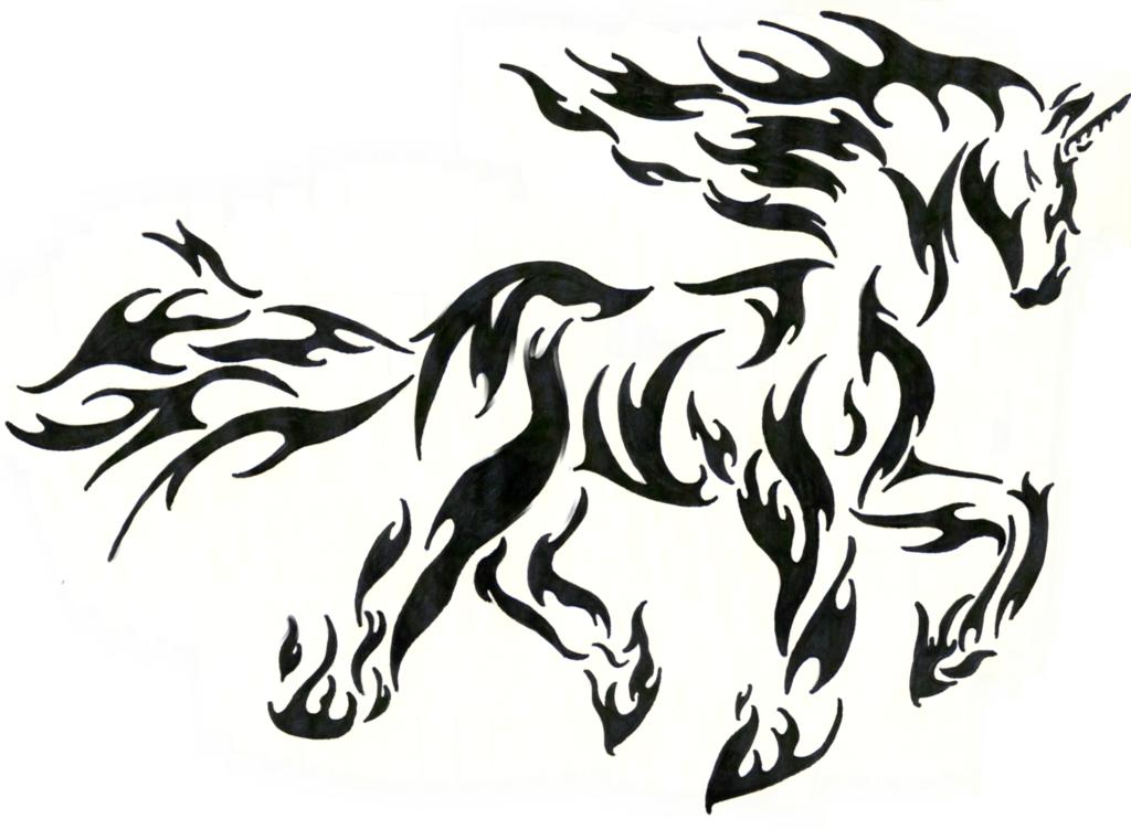 Tribal Unicorn Fire Rapidash By Akkaifox On Deviantart Tribal Horse Tattoo Horse Tattoo Horse Tattoo Design
