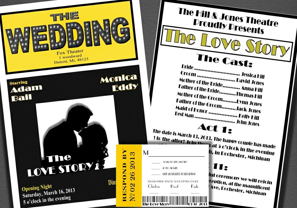 Broadway Theatre Style Wedding Invitation By BowersInk 400