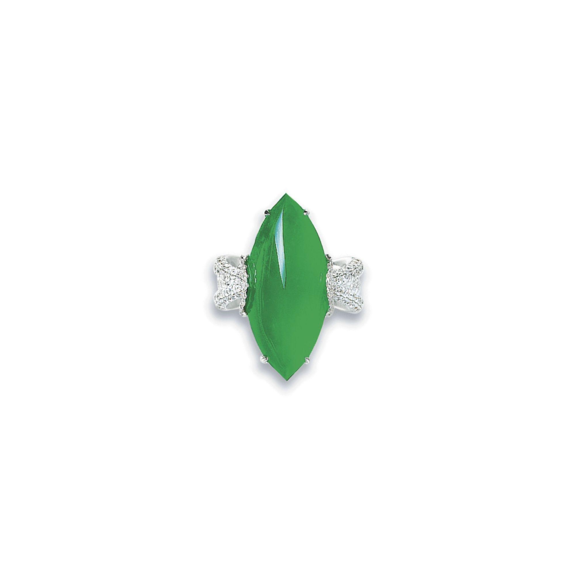 天然翡翠配鑽石戒指 | Lot | Sotheby's