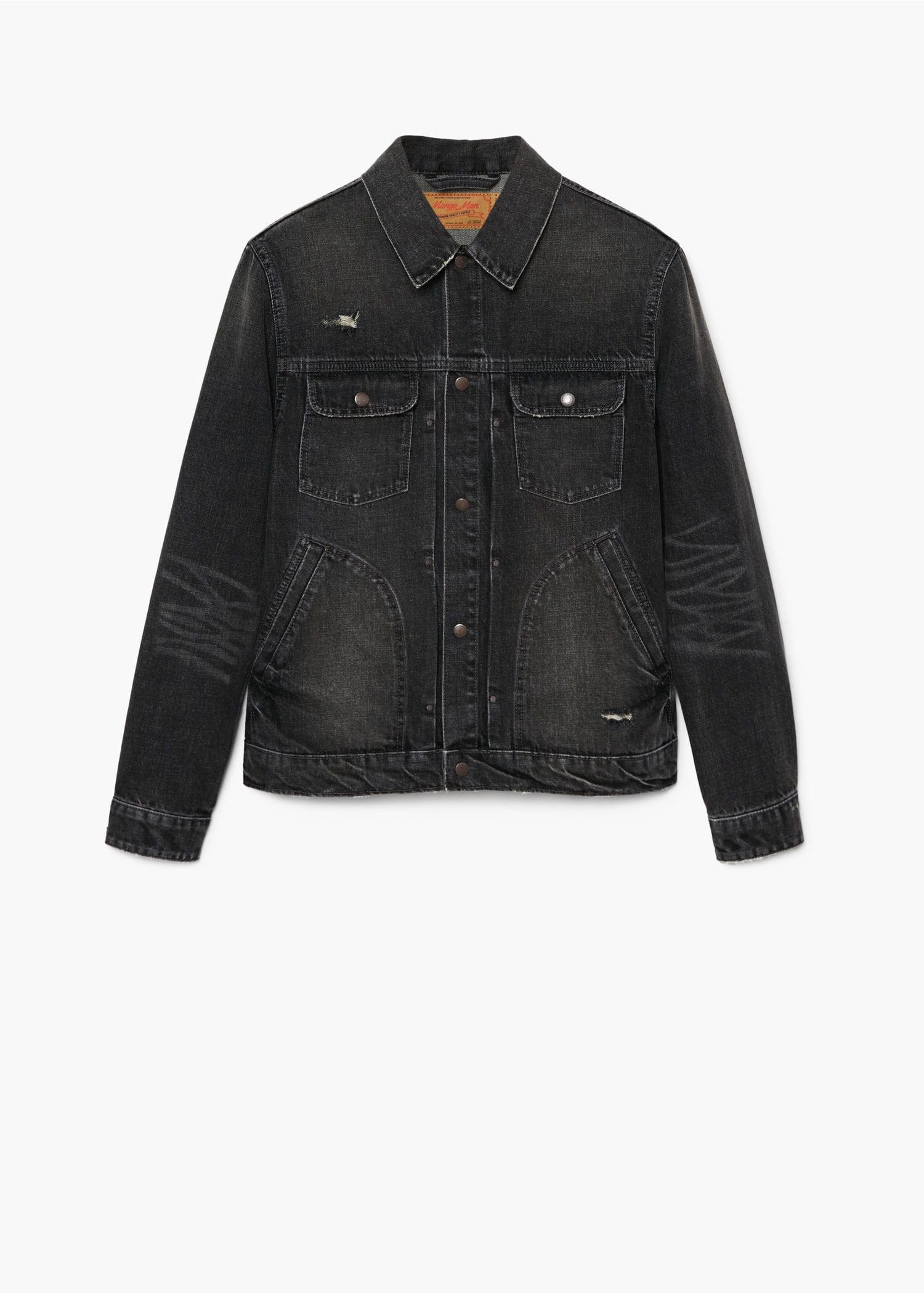 Mango Dark Grey Wash Denim Jacket Xs Gray [ 2098 x 1500 Pixel ]