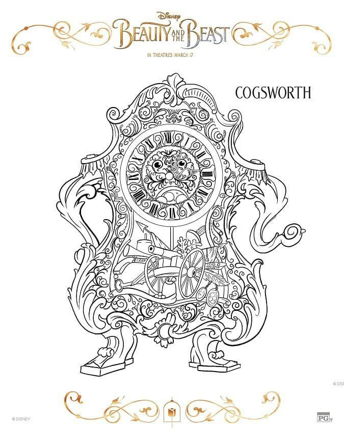 Disney Beauty And The Beast 2017 Coloring Pages Colouring