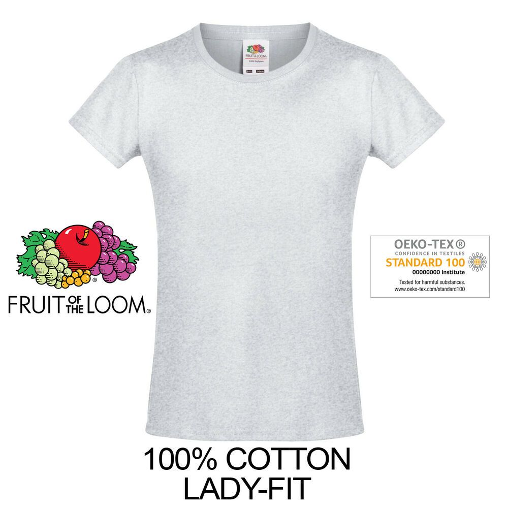 FRUIT OF THE LOOM WHITE//GREY WOMENS FIT T-SHIRT 100/% COTTON BLANK PLAIN TEE TOP