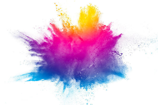 Multi Color Powder Explosion Isolated On White Background Colored Dust Splash Cloud On White Background Launched Colorful Particles On Background Painted Ho Paint Splash Background Color Powder Color Dust