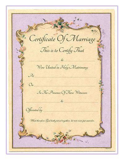 Keepsake Marriage Certificate - Free Printable - Vintage French - marriage certificate template