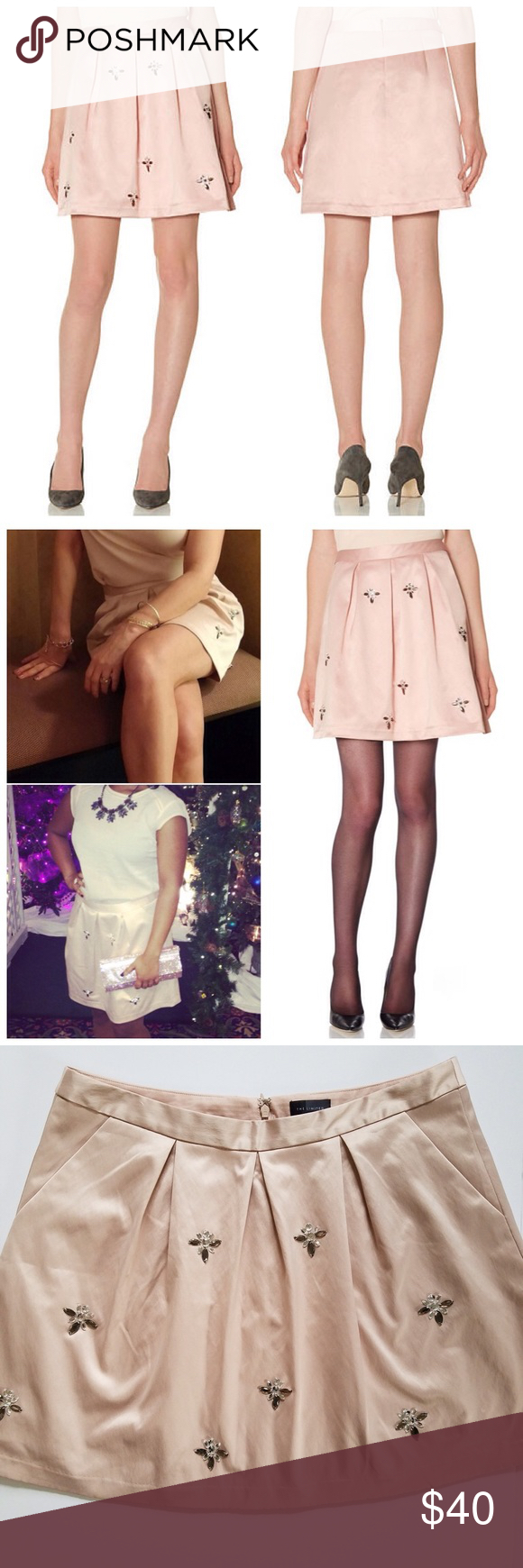 Spotted while shopping on Poshmark: NWOT Gorgeous Blush Pink Satin Jeweled Miniskirt! #poshmark #fashion #shopping #style #The Limited #Dresses & Skirts