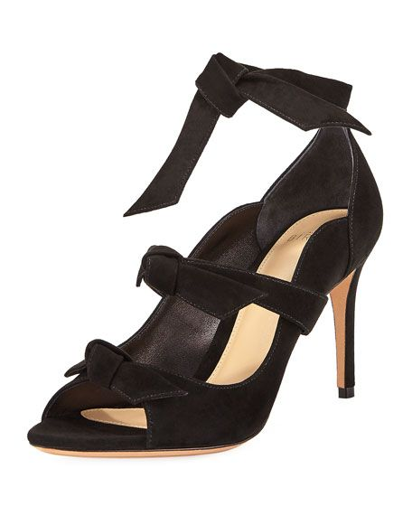 ALEXANDRE BIRMAN Charlotte Suede Three-Strap Pump, Black. #alexandrebirman #shoes #