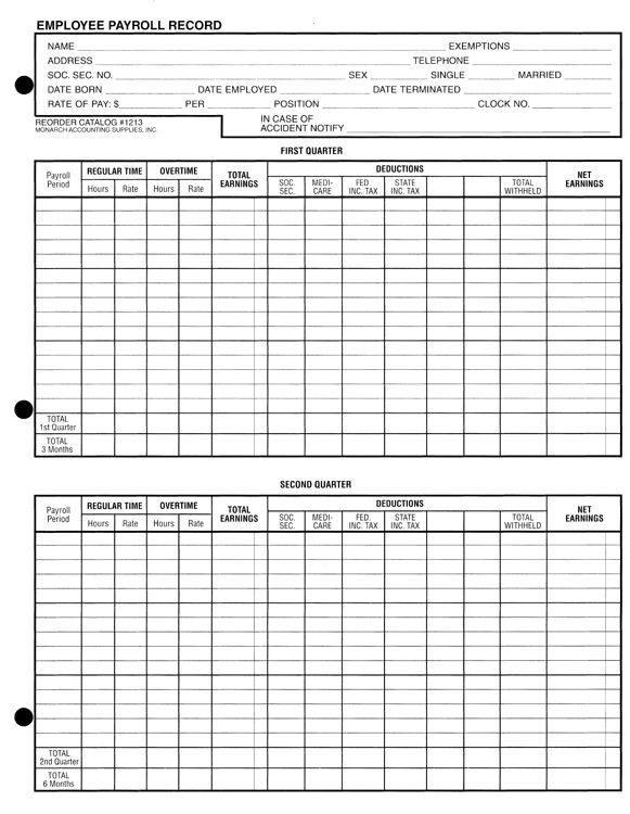 Employee Payroll Ledger Template - Google Search | Construction