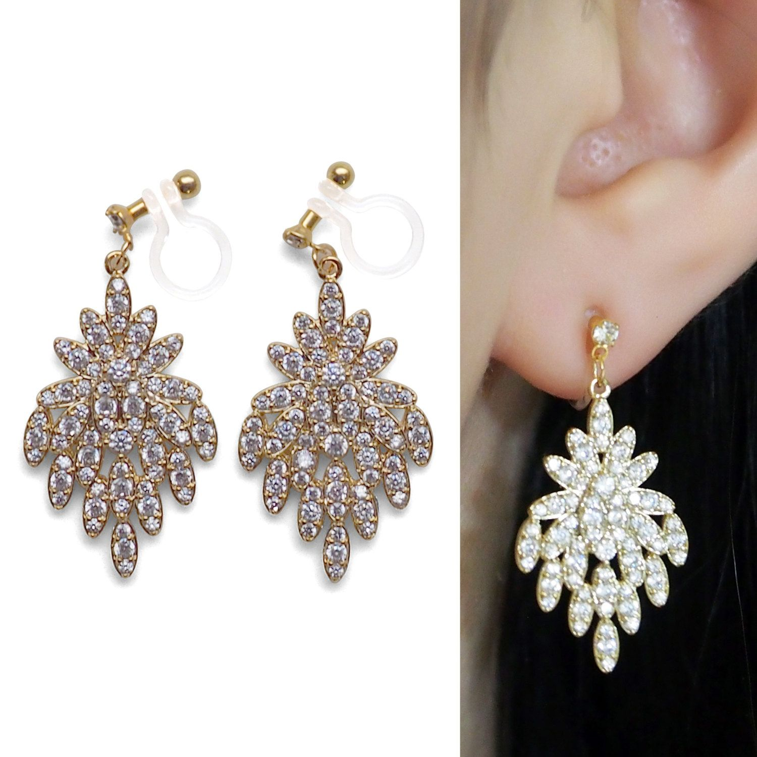 Gold Bridal Pave Invisible Clip on Earrings Wedding CZ Crystal – Clip on Earrings Chandelier