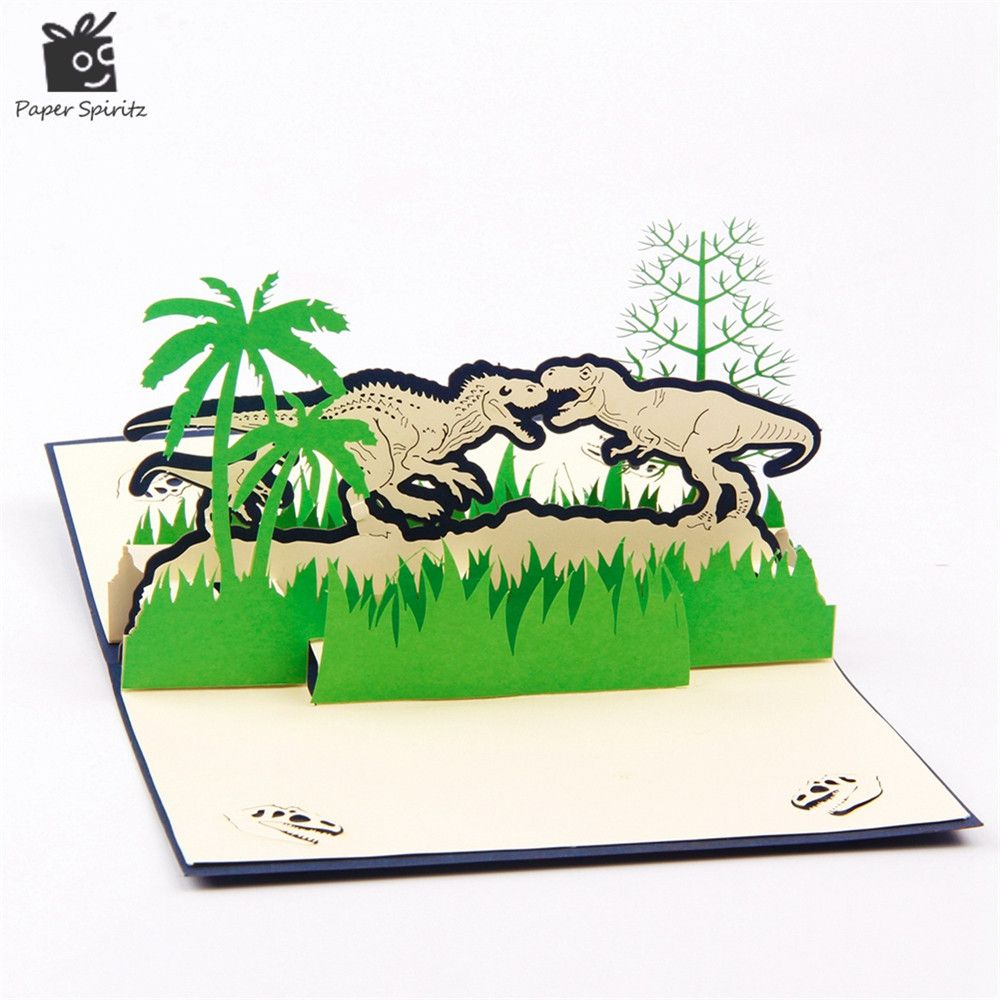 Dinosaur d laser cut pop up paper holiday happy birthday handmade