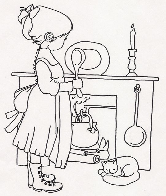 Girl Cooking In Pot In Fireplace Embroidery Patterns Coloring