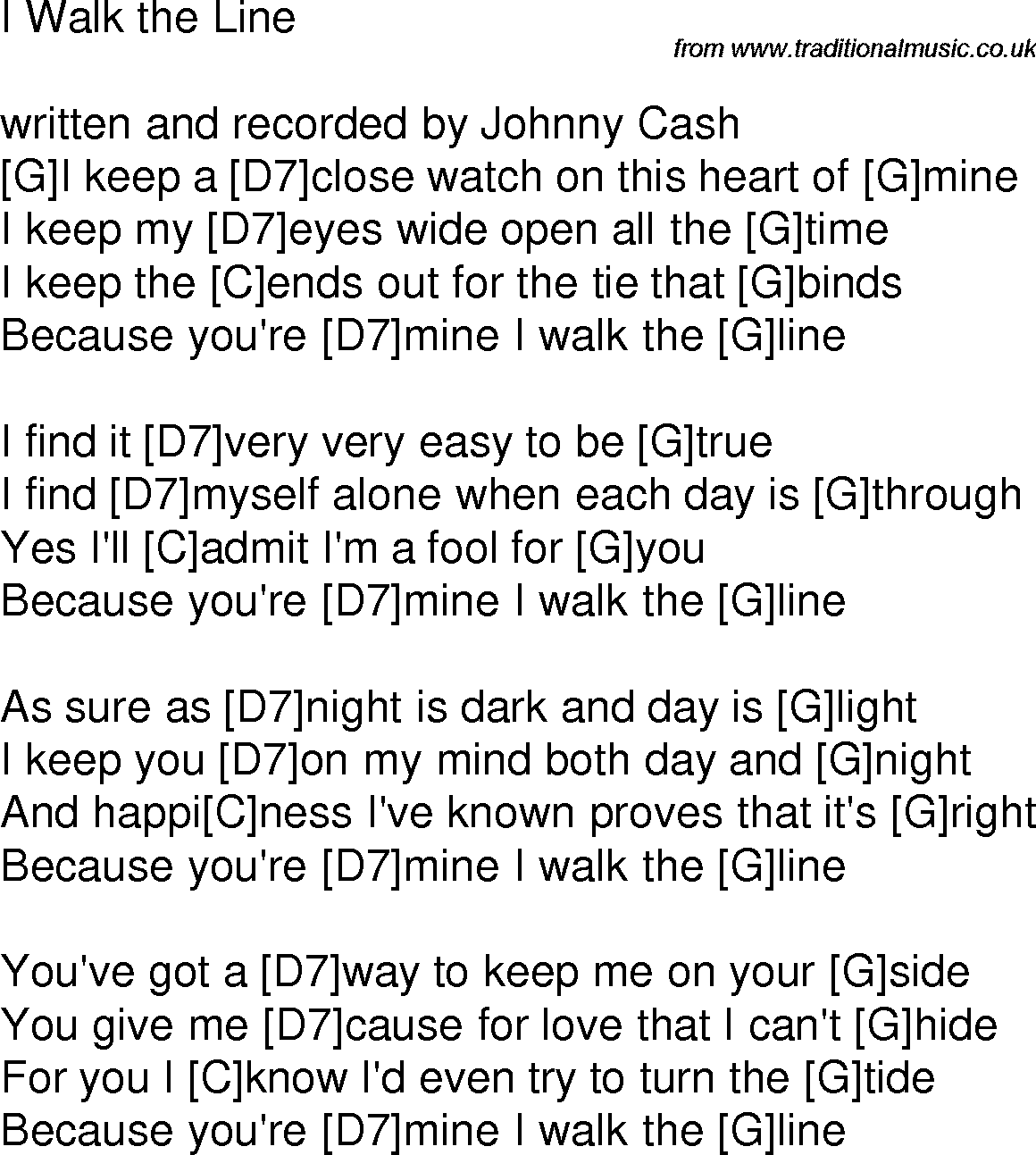 Old time song lyrics with chords for i walk the line g guitar old time song lyrics with chords for i walk the line g hexwebz Image collections