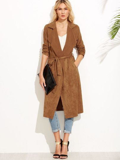 5915f036308 Shop Brown Suede Self Tie Duster Coat online. SheIn offers Brown Suede Self  Tie Duster Coat   more to fit your fashionable needs.