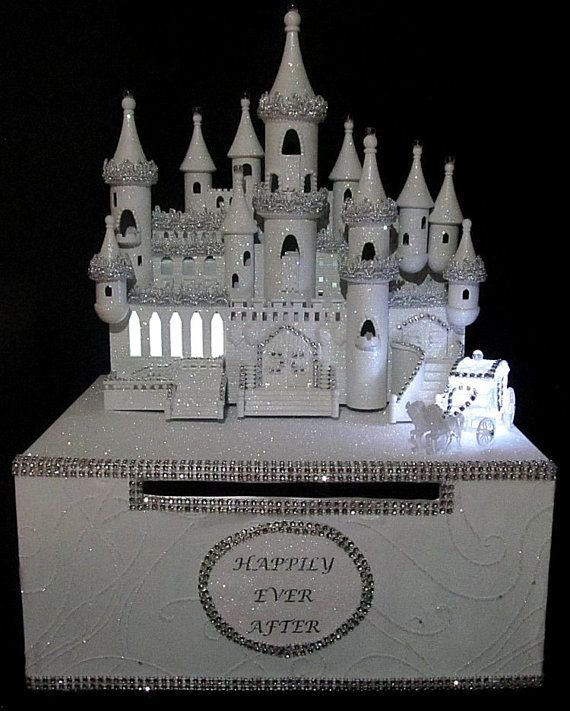 lighted cinderella castle wedding card box wedding castle Wedding Card Box Disney lighted cinderella castle wedding card box wedding card box disney