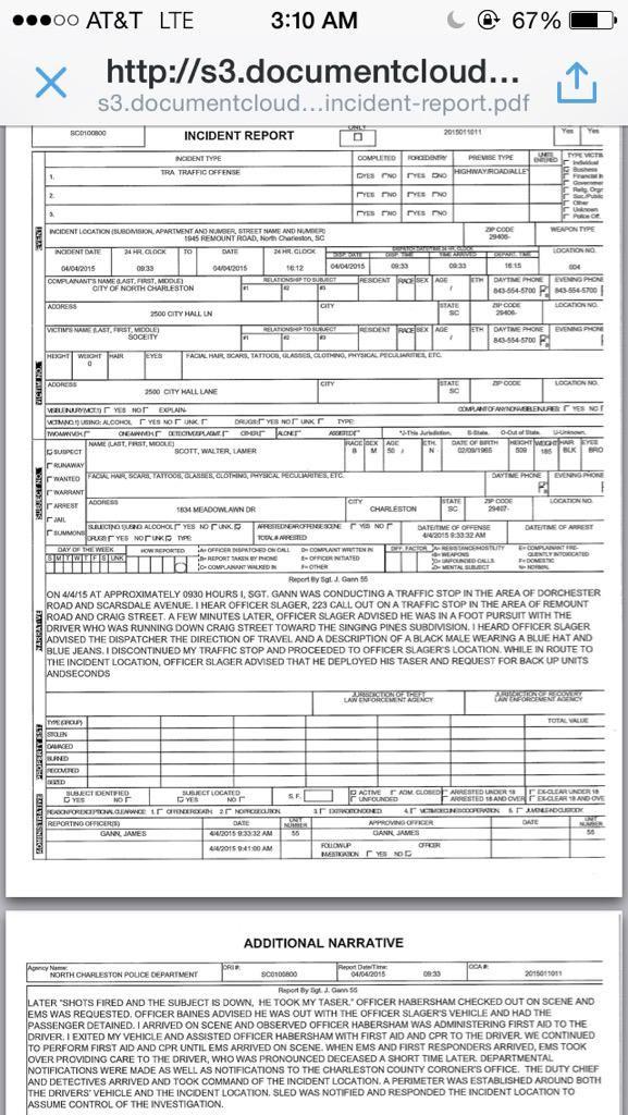 Walter Scott Child Support Murder Police Report Why Dad\u0027s Matter