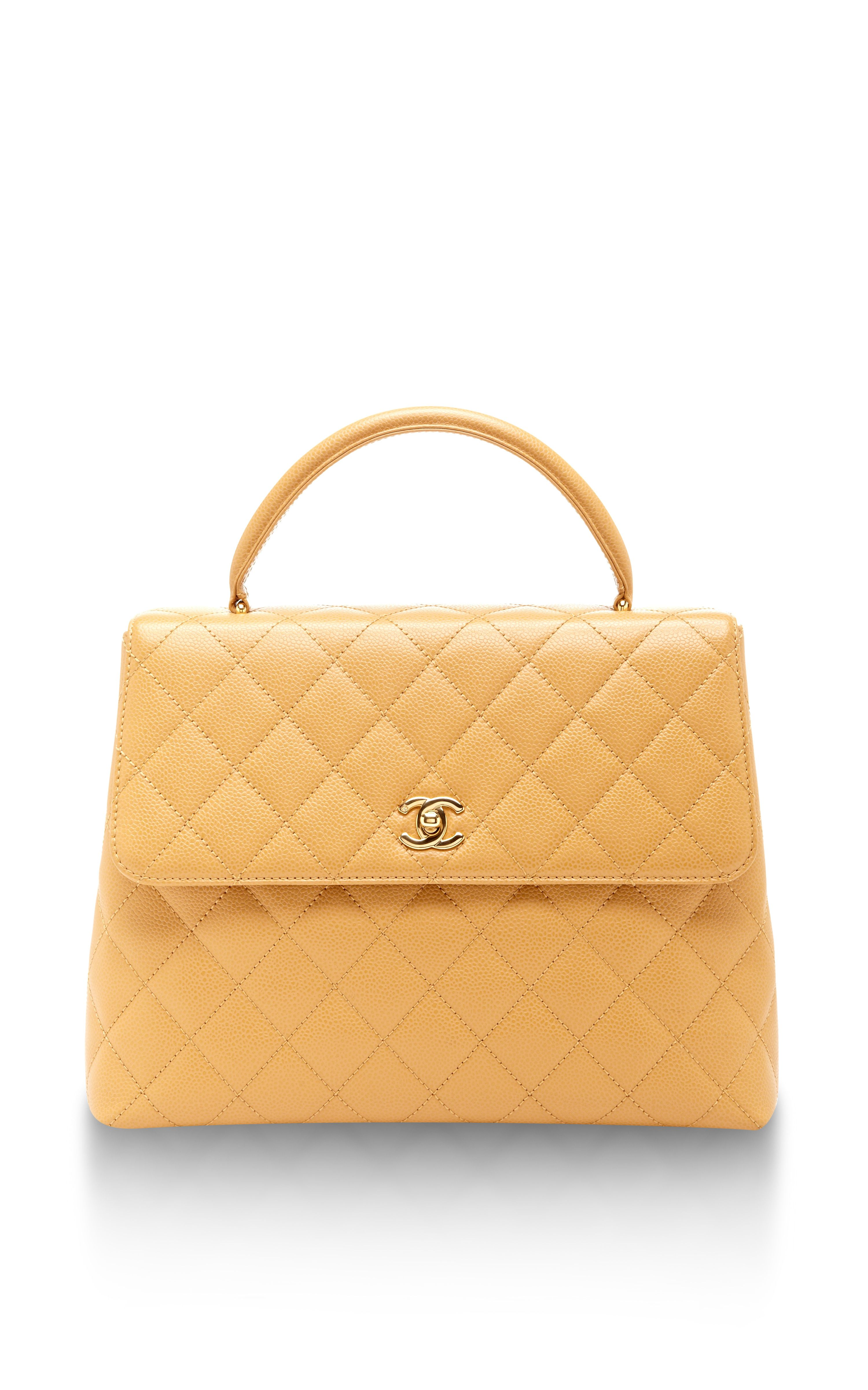 Vintage Chanel Tan Caviar Kelly Bag  f9415bc03846e