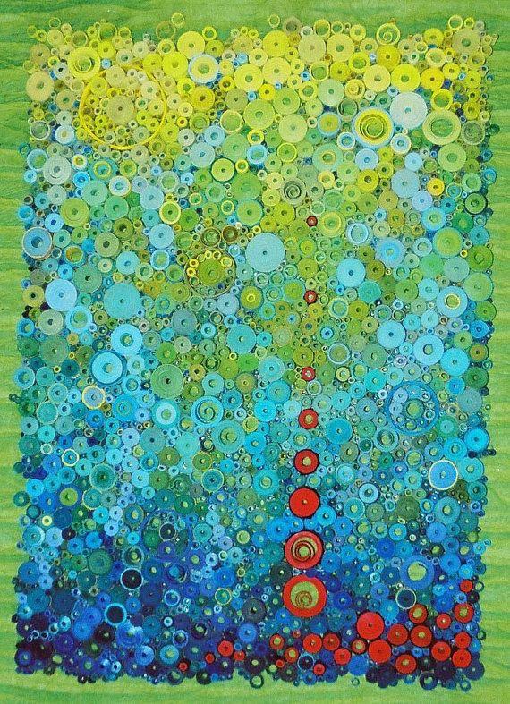 Bright wall art, paper art, rolled paper art, textural art, water art, entryway art, gallery art