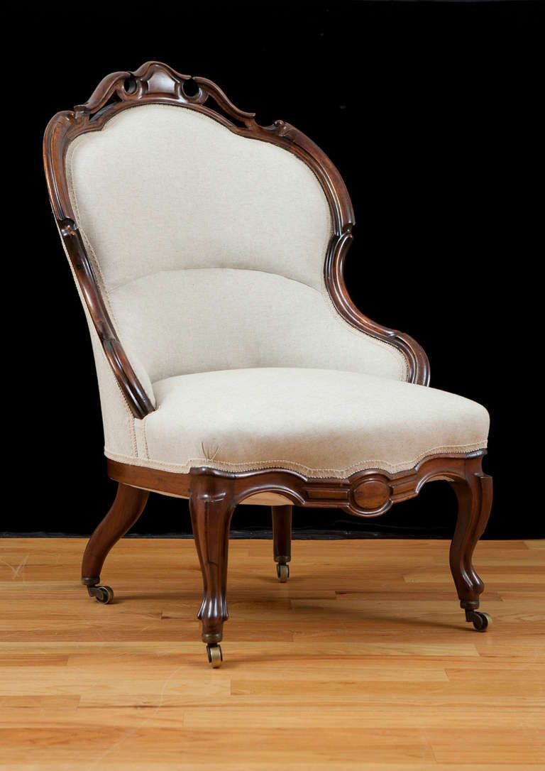 English victorian upholstered slipper chair in mahogany c