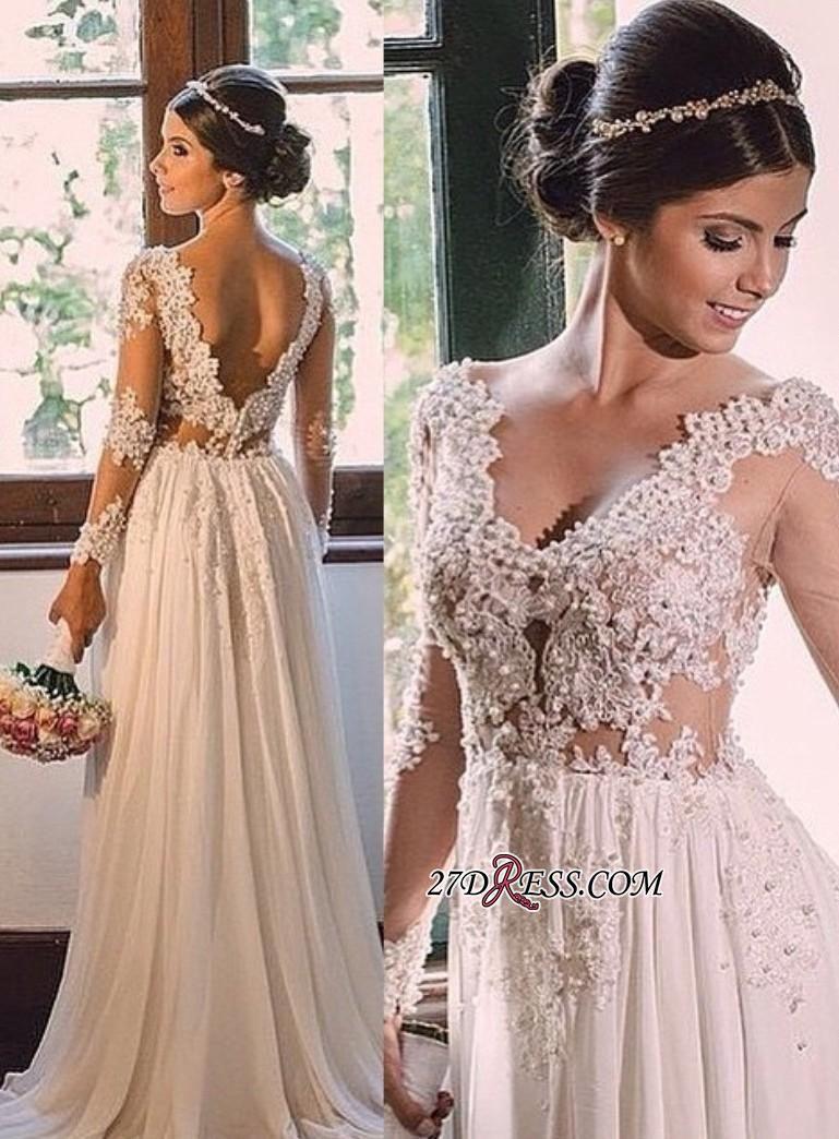vneck simple aline backless lace chiffon sweeptrain wedding