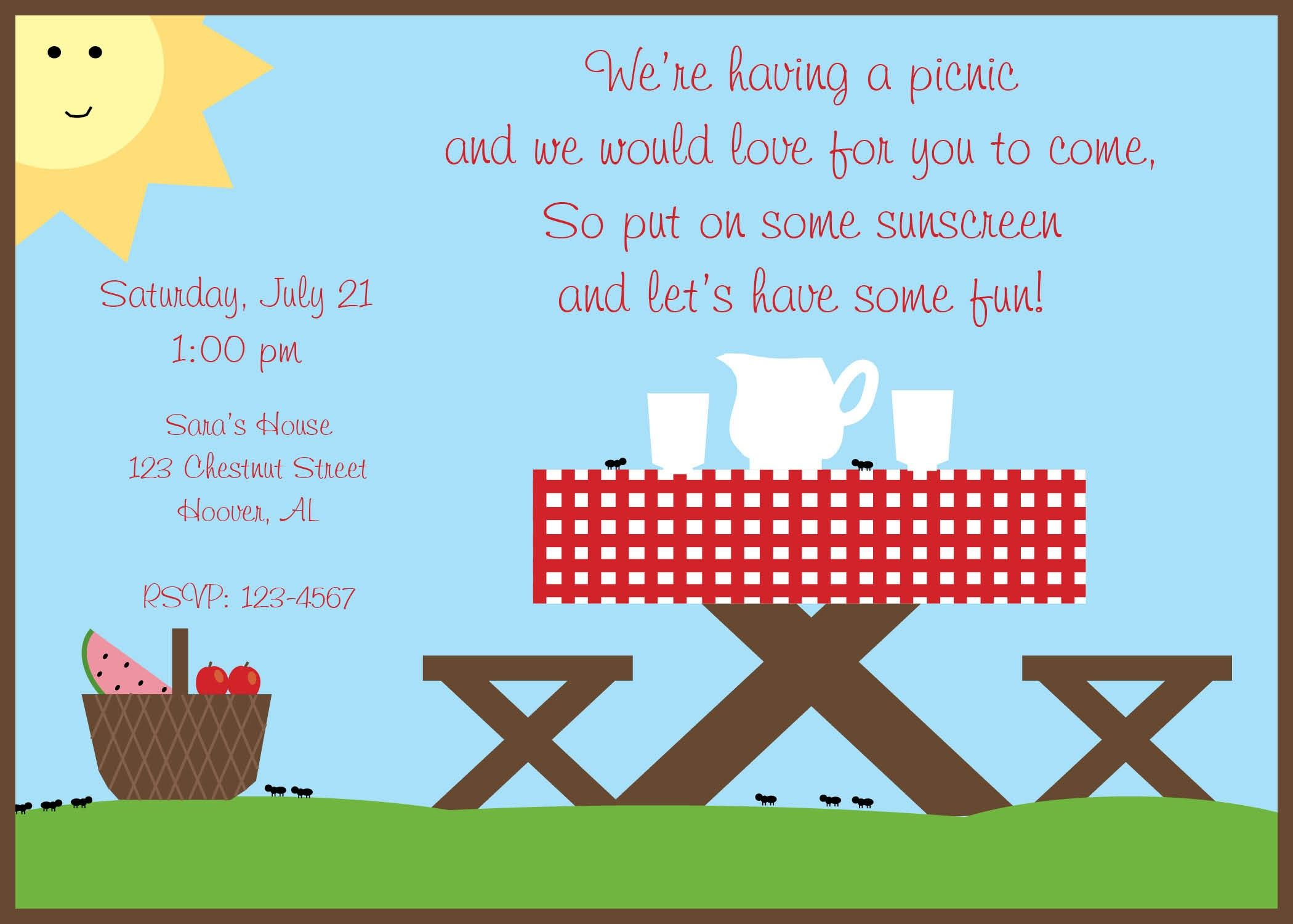 Summer Picnic Invitations Templates  My Style