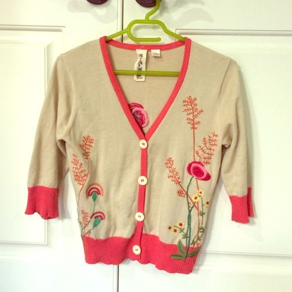 Floral embroidered spring cardigan Spring is here! What better to embody spring than with this floral embroidered cardigan. Tan and coral pop with lovely purple, green and pink flowers alive with a firefly brings and outfit to life! nick and mo Sweaters Cardigans
