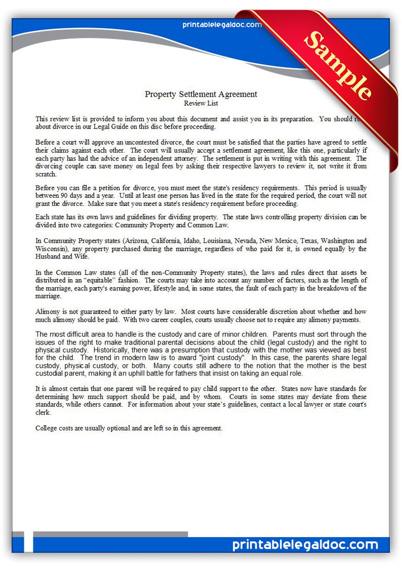 Printable Property Settlement Agreement Template Legal Forms Power Of Attorney Form Child Support Payments
