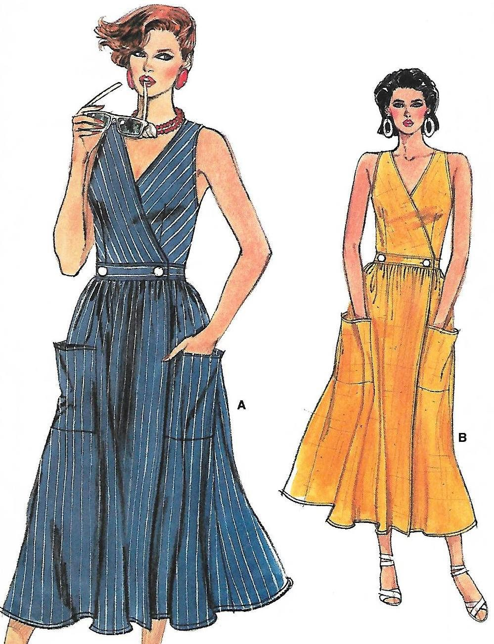 Wrap Dress, Very Easy Vogue, Pattern 9276, UNCUT Misses Size 12-14 ...