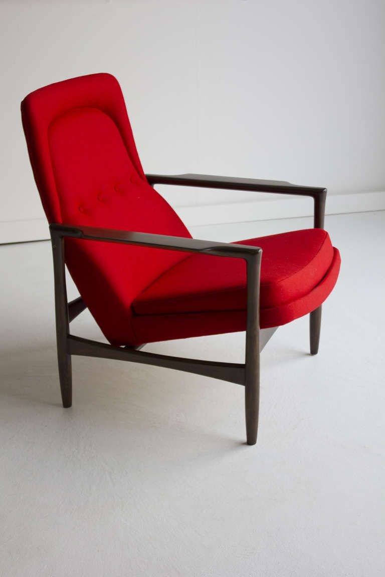This sculptural pair of lounge chairs by ib kofod larsen is no longer - Ib Kofod Larsen Lounge Chair For Selig 1950s