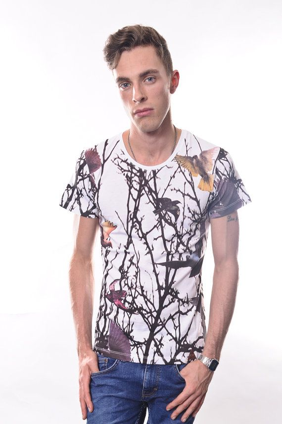 All Over Floral and Birdies Print Men's T-Shirt S to XL Sizes