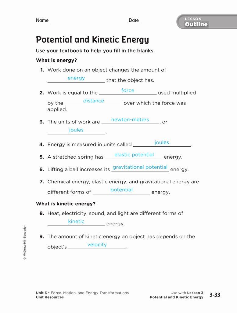 50 Energy Transformation Worksheet Answer Key in 2020