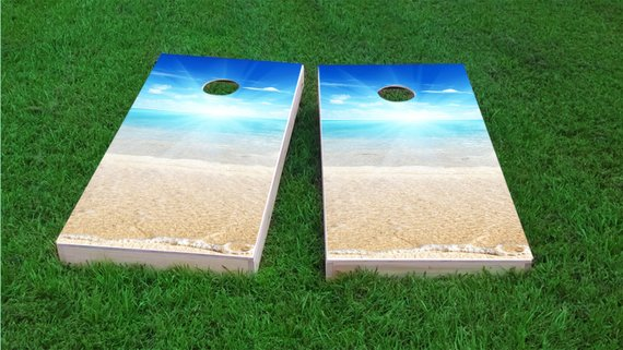 Beach Sun Themed Light Weight 1x4 Regulation Size Custom Board Set Corn Hole Bag