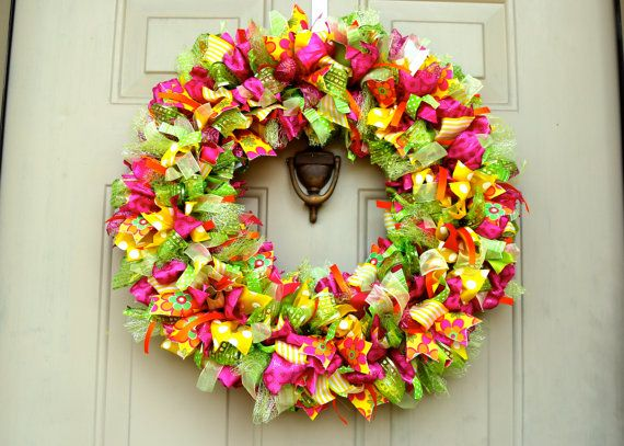 Cheerful Flower Ribbon Wreath by HBBeanstalk on Etsy
