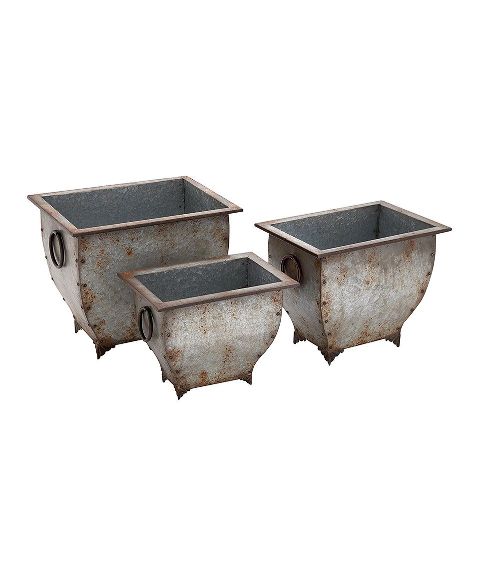 Look At This Zulilyfind Rustic Metal Planter Set By Uma Enterprises Zulilyfinds Metal Planters Planter Boxes Planters