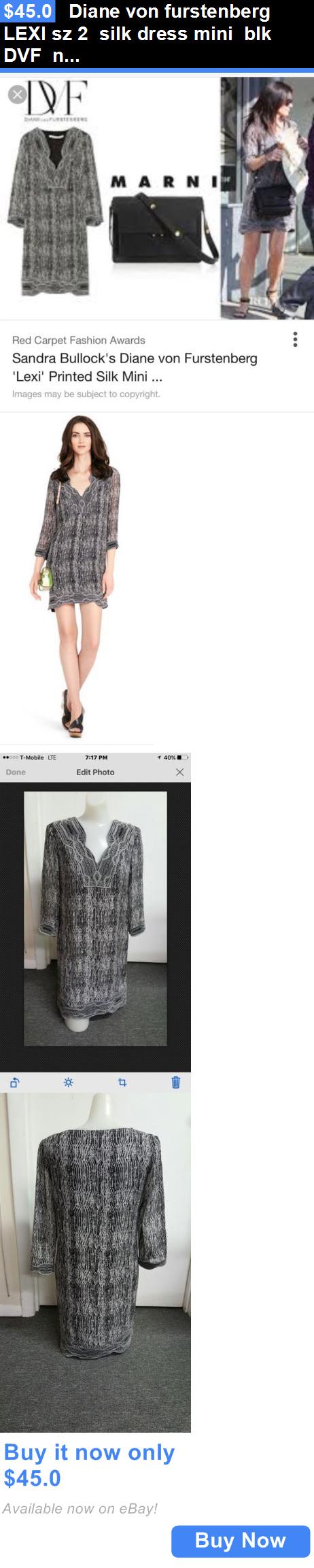 Celebrity Dresses: Diane Von Furstenberg Lexi Sz 2 Silk Dress Mini Blk Dvf New W/O Tag Celebrity BUY IT NOW ONLY: $45.0