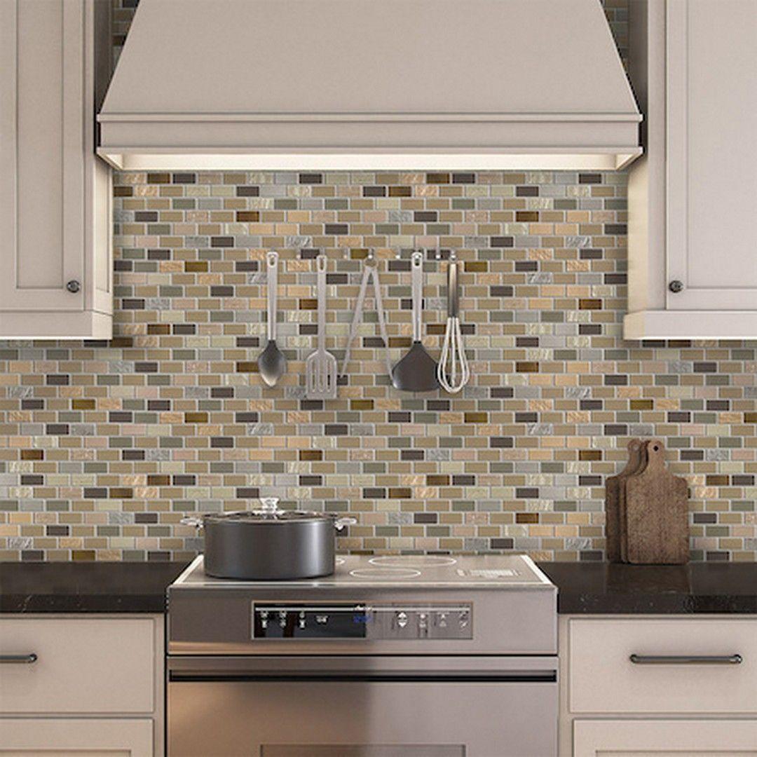 kitchen backsplash featuring Peel u0026 Stick Glass