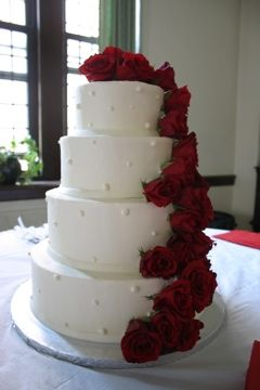 White Cake With Red Rose Detail
