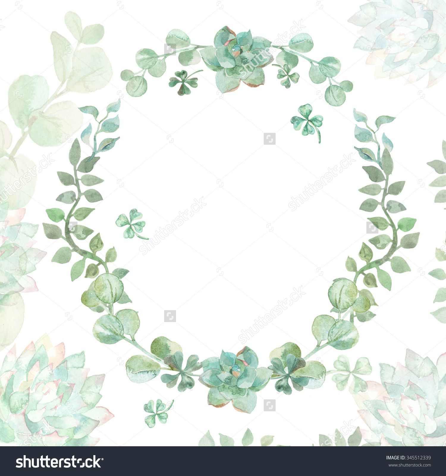 wedding invitation wreath succulents and eucalyptus greeting
