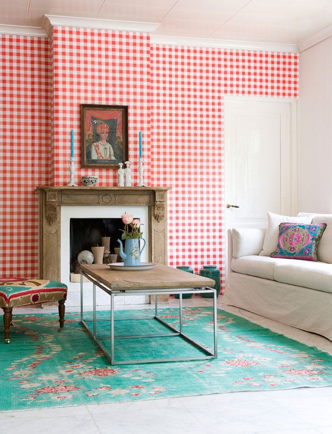 Red gingham wallpaper. I had this in royal blue in my bedroom ...