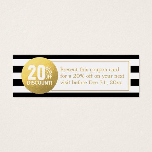 Black and White Gold Beauty Salon Discount Coupon Mini Business - discount coupon template