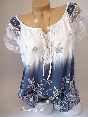 Italy Vintage Blumen Bluse Sommer Shirt Top Tunika Lagenlook Weiss Blau 38 40 42 Letnie Zhenskie Naryady Zhenskie Bluzki Idei Naryada