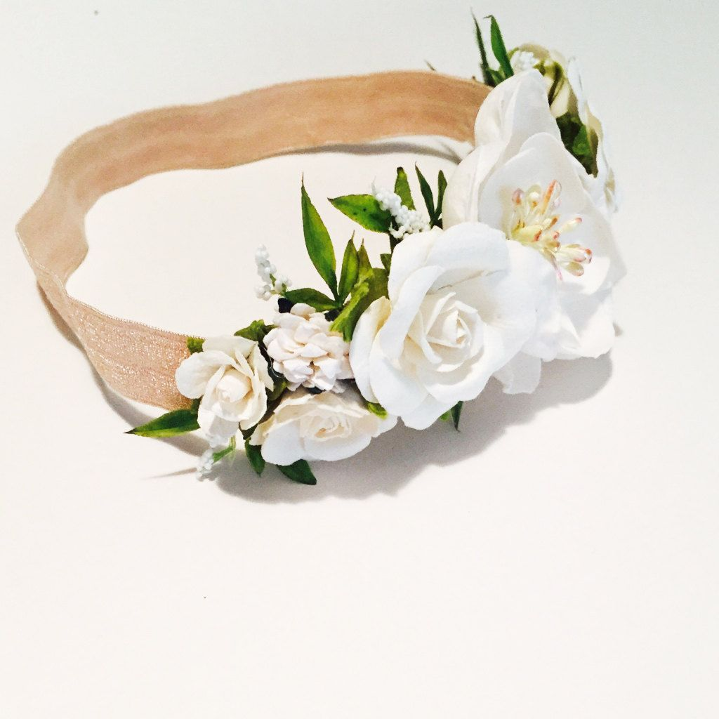 Beautiful ivory flower crown flowers are made from paper and set on beautiful ivory flower crown flowers are made from paper and set on a 5 izmirmasajfo