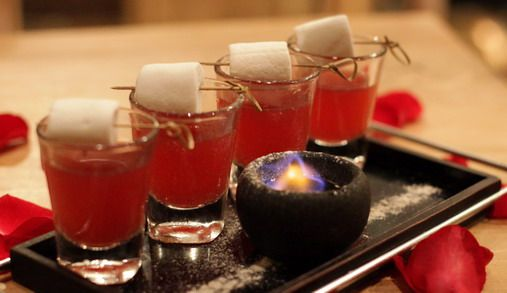 marshmallow fire shots , burn the marshmallow over the flaming sambuca , you will taste sambuca flavored marshmallow to accompany the shots #flavoredmarshmallows