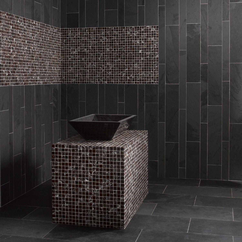 Dalles Carrelage en pierre Ardoise noire  Carrelage salle de bain
