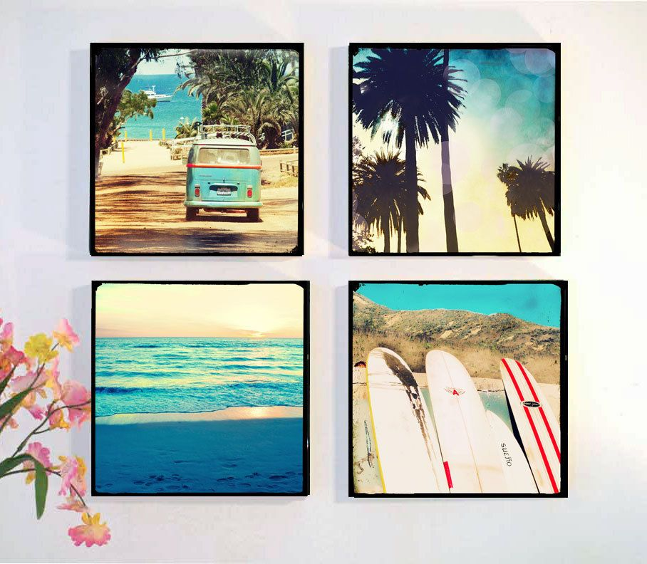 Surf Photography Retro Art Palm Trees Surfboards Vw Bus