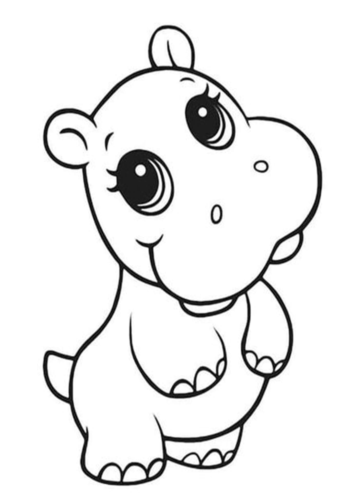 Free Easy To Print Baby Animal Coloring Pages In 2020 Baby Animal Drawings Animal Coloring Pages Hippo Drawing