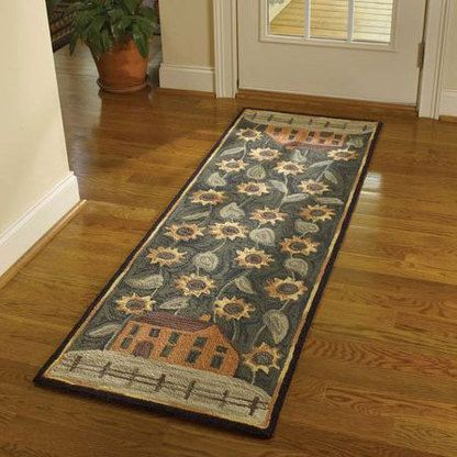 House And Sunflowers Hooked Rug Runner Rug Hooking Country Rugs Hooked Rugs Primitive