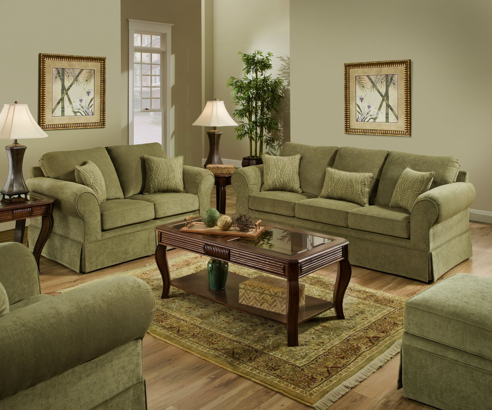 Beautiful Green Set Simmons Arlington Moss Sofa & Loveseat