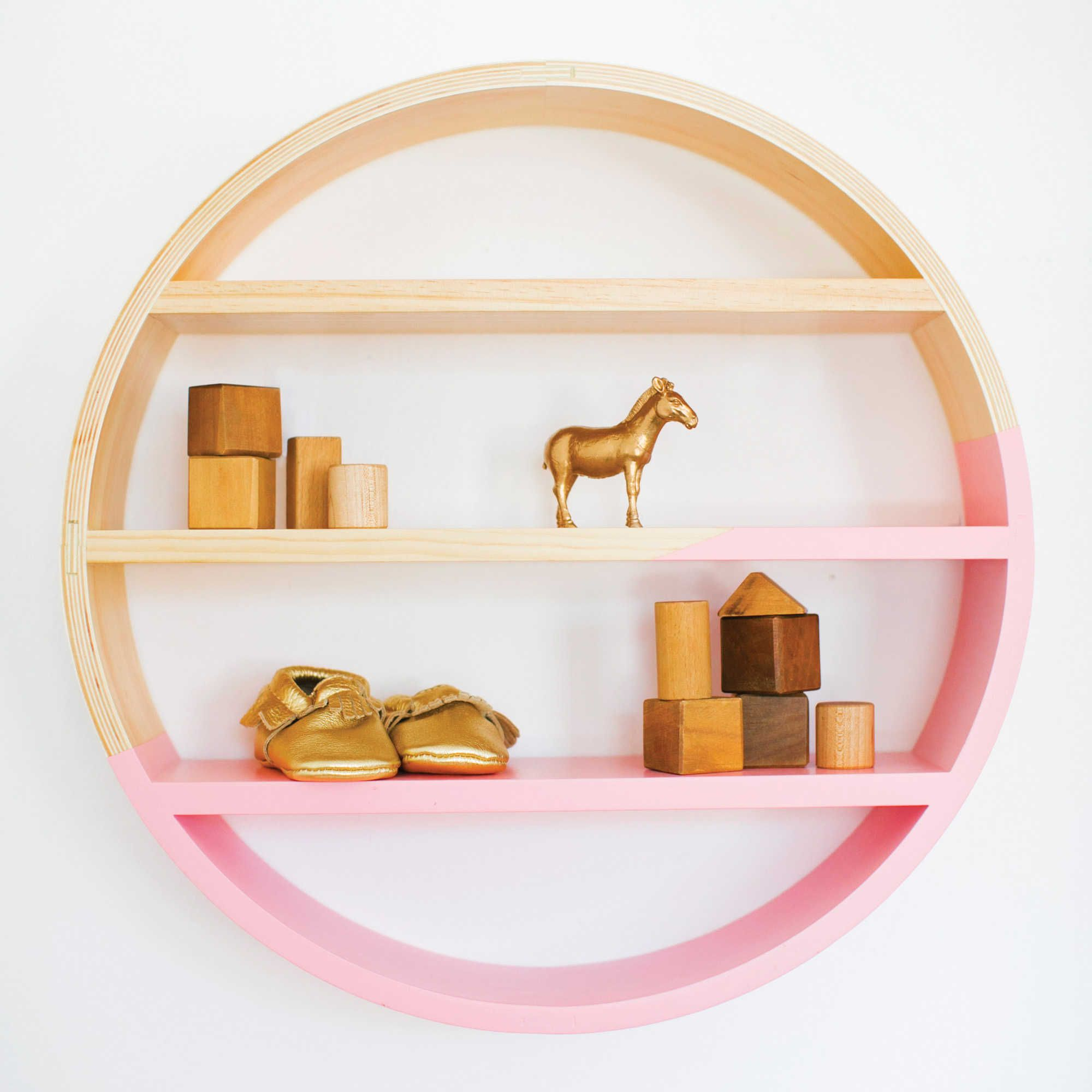 Petunia Pickle Bottom Dreaming in Dax Crib Wooden Wall Shelf in Pink//Brown