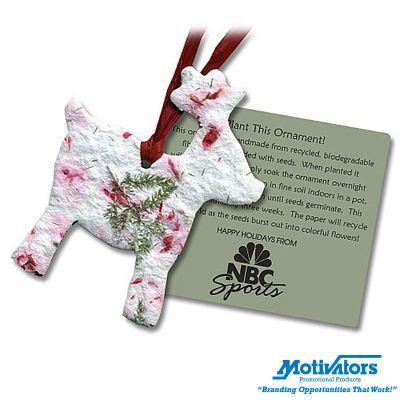 Make it an eco-friendly holiday season! Our customizable scarlet sage reindeer ornament leaves no waste, just flowers. #ecofriendly #Christmas #reindeer #seedpaper
